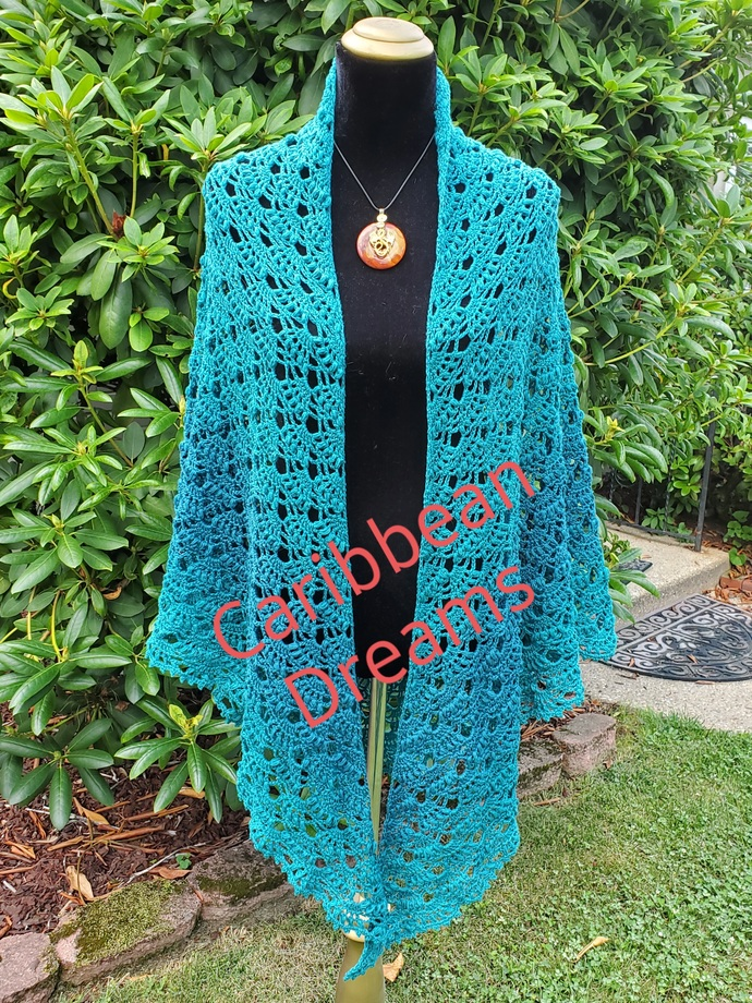 Shawl in Tonal Teal - Oversized
