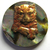 Brass Cat on Abalone Pearl Button by Diana McClure MMF