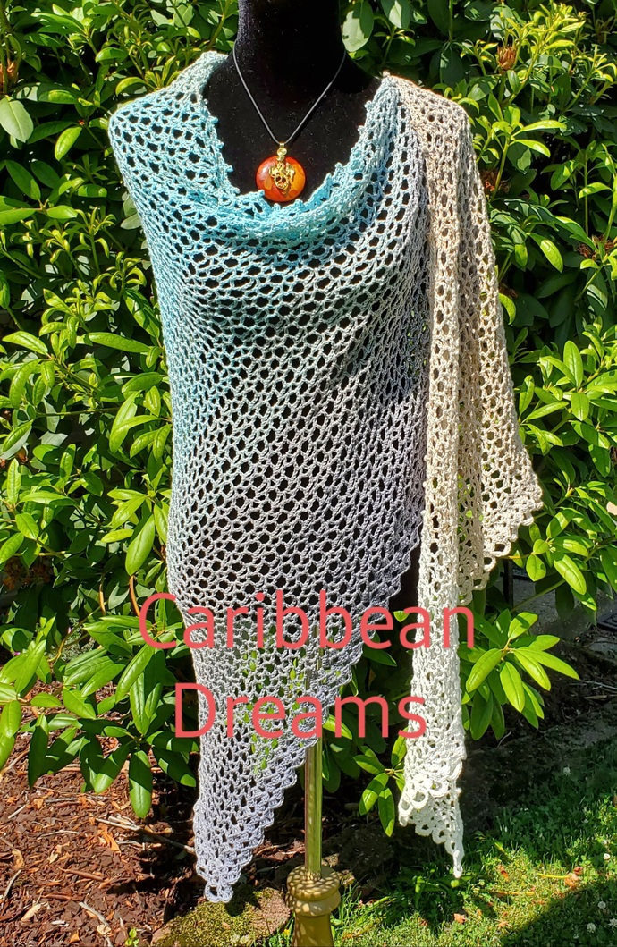 Shawl - Asymmetrical in Neutral Colors