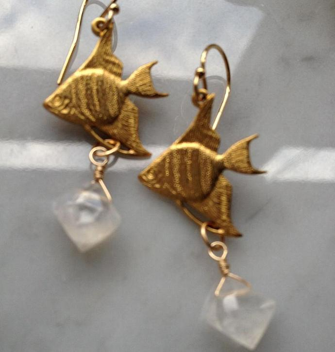 Faceted Moonstone & Flying Fish Earrings