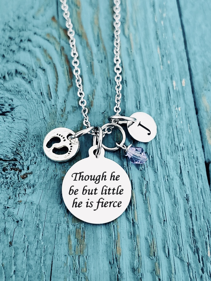 Though He Be But Little He Is Fierce By Sajolie On Zibbet Discover our wide range of unique golden & silver personalized necklaces, rings, bracelets and more. though he be but little he is fierce inspirational quote premature baby silver necklace charm necklace baby foot charm mom of premmie