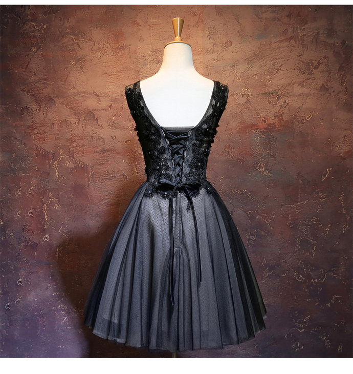 Little Black Tulle Short Lace Party Dress, Black Homecoming Dress