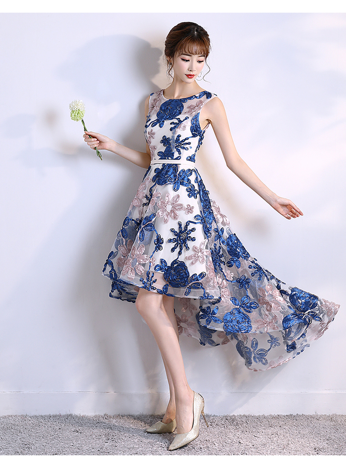 Lovely Round Neckline High Low Lace Party Dress, Blue Homecoming Dress