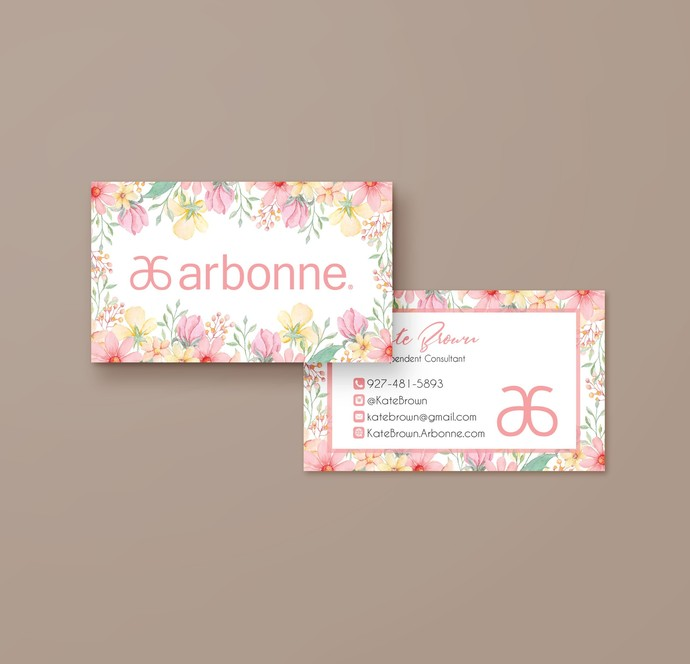 Pink Floral Arbonne Business Card, Personalized Arbonne Business Card, Arbonne