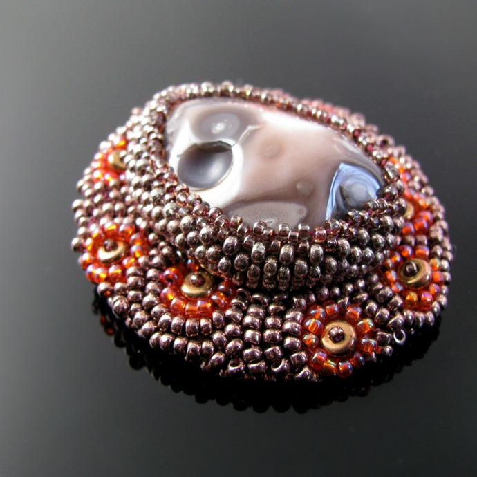 Bead embroidered coral reef brooch with jasper