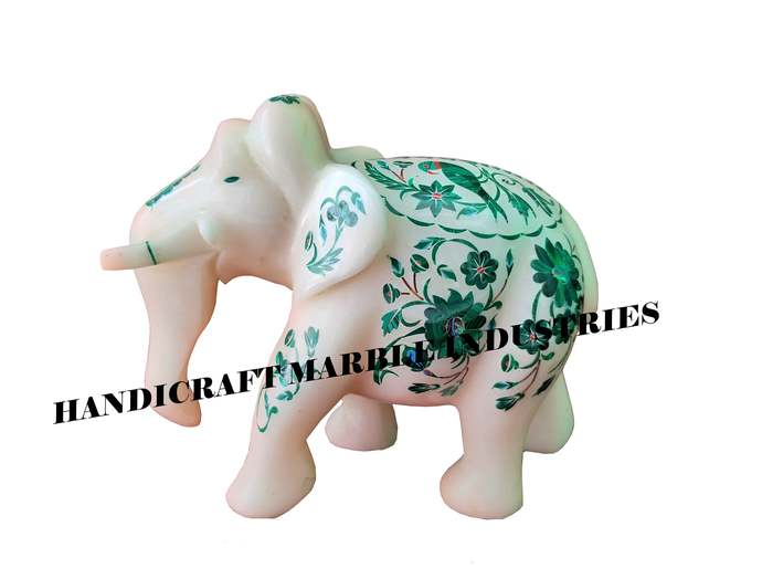 "6"" Marble Elephant, White Marble Inlay Elephant, Malachite Inlay Parrot Design"