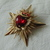 vintage coro signed gold red glass clear crystals pearls royal heart star brooch
