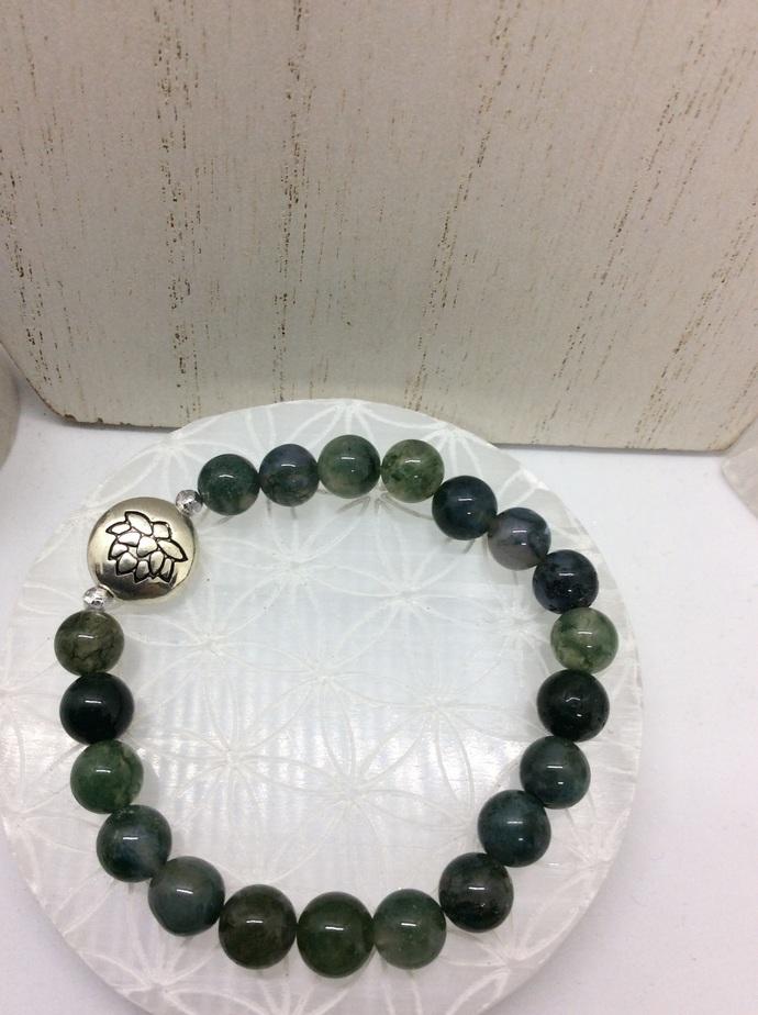 Moss Agate LOTUS Bracelet