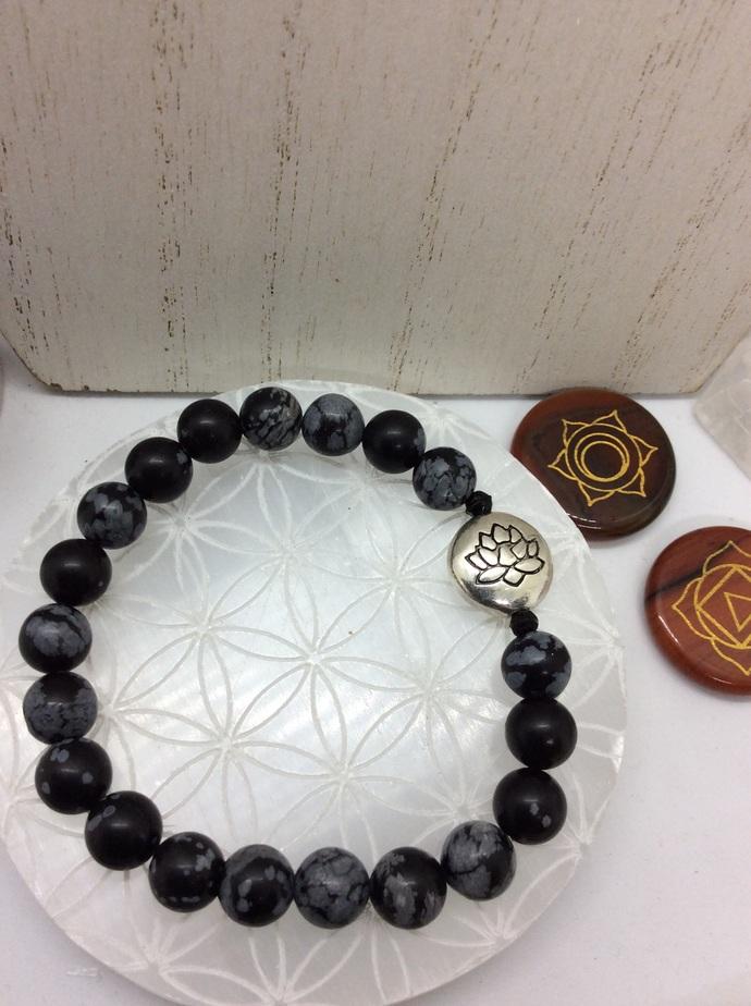 Snowflake Obsidian LOTUS Bracelet