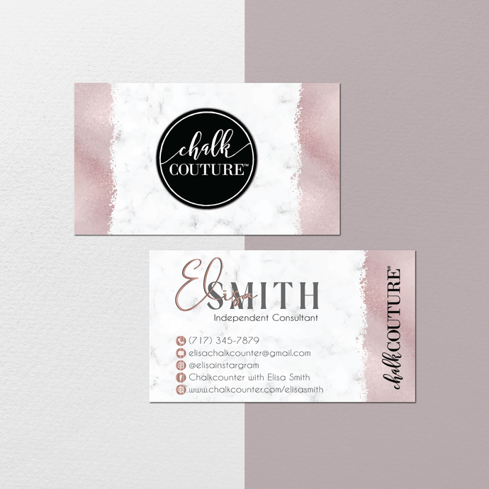 Marble Personalized Chalk Couture Business Cards, Chalk Couture Cards, Chalk