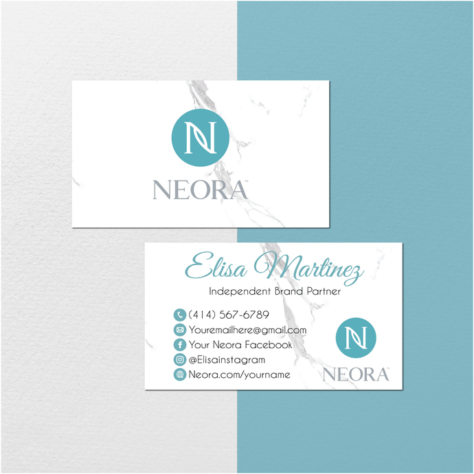 Neora Business Card, Personalized Neora Business Cards, Marble Neora Card,