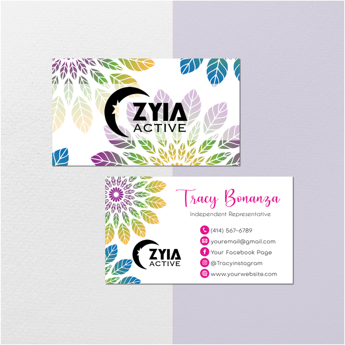 Watercolor Personalized Zyia Active Business Cards, Zyia Active Digital file