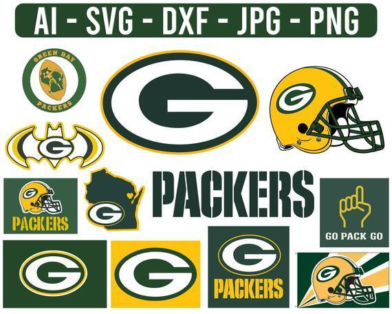 Green Bay Packers Helmet Logo NFL Football Svg,  cut file for cricut files Clip