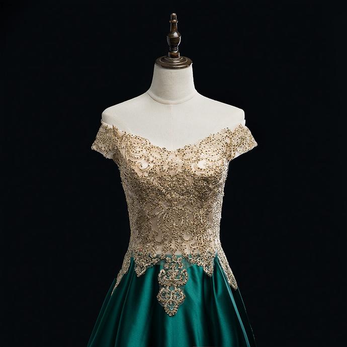 Green Satin Sweetheart Floor Length Party Dress, A-line Long Prom Dress