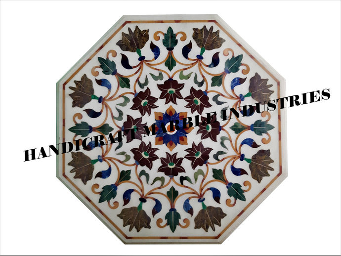 """31"""" X 31"""" Inch White Marble Inlay Table Top With Stand, Stone Table Top, Garden"""