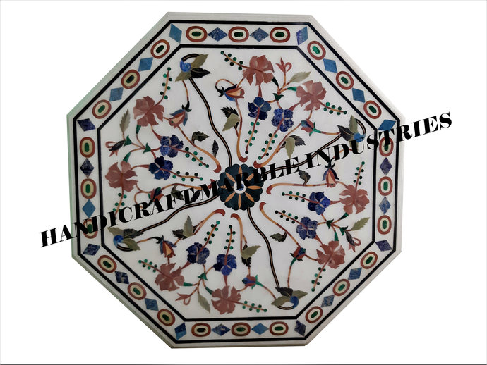 """31"""" X 31"""" Inch White Marble Inlay Table Top With Stand, Stone Table Top,Marble"""