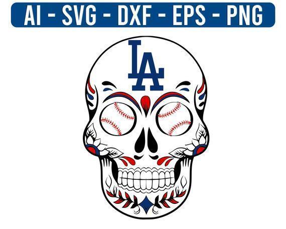 Los Angeles Dodgers Sugar skulls Logo MLB Baseball SVG Sport cut file for cricut
