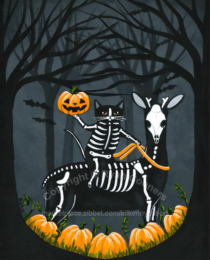 The Not So Headless Horseman Original Halloween Cat Folk Art Painting