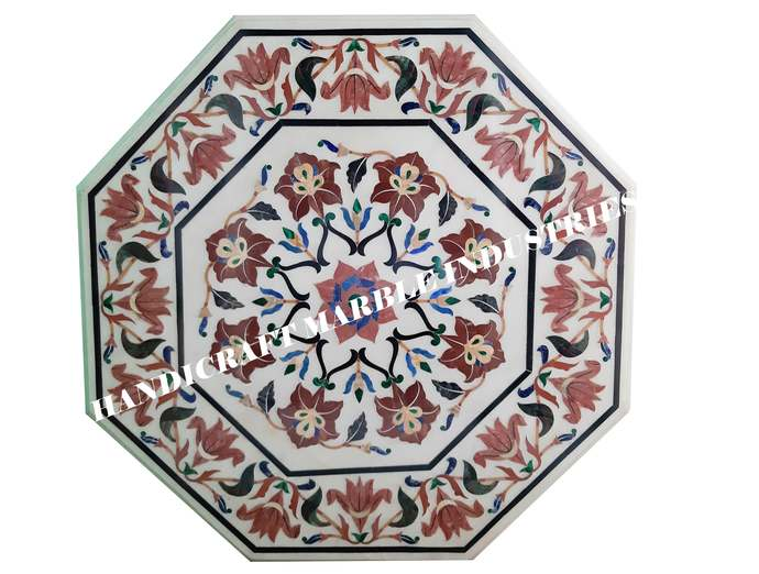 """33"""" X 33"""" Inch White Marble Inlay Table Top With Stand, Garden Decor Stone Table"""