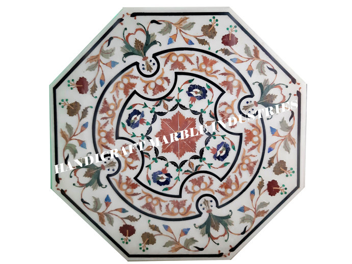 """36"""" X 36"""" Inch White Marble Inlay Table Top With Stand, Marble Dining Table,"""