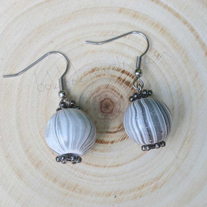 Handmade Gray Wooden Earrings