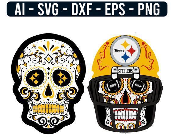 Pittsburgh Steelers Sugar Skulls Logo NFL Football Svg,  cut file for cricut
