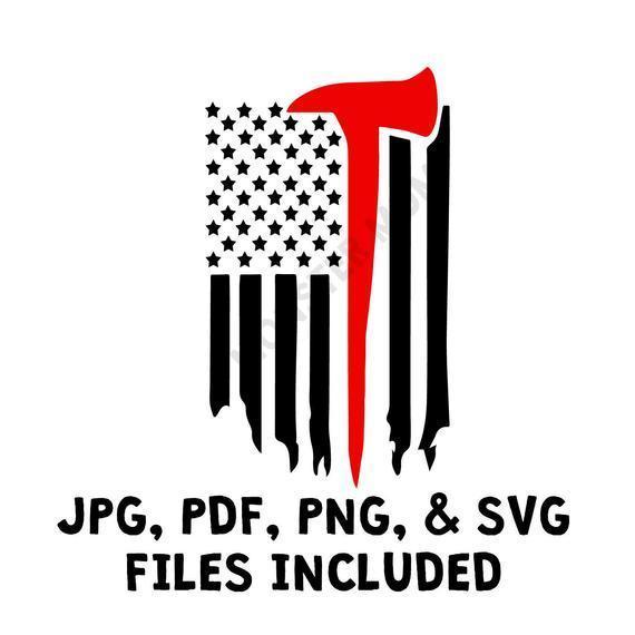 Red Line Flag SVG  Firefighter Flag SVG  Red Line Flag Clipart,   Flag Cut File