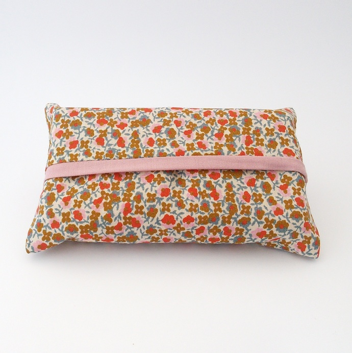 Pocket Tissue Holder - Small Flowers Upcycled Fabric