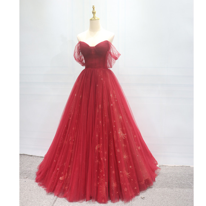 Beautiful Red Sweetheart Long Formal Gown, Red Tulle Off Shoulder Prom Dress