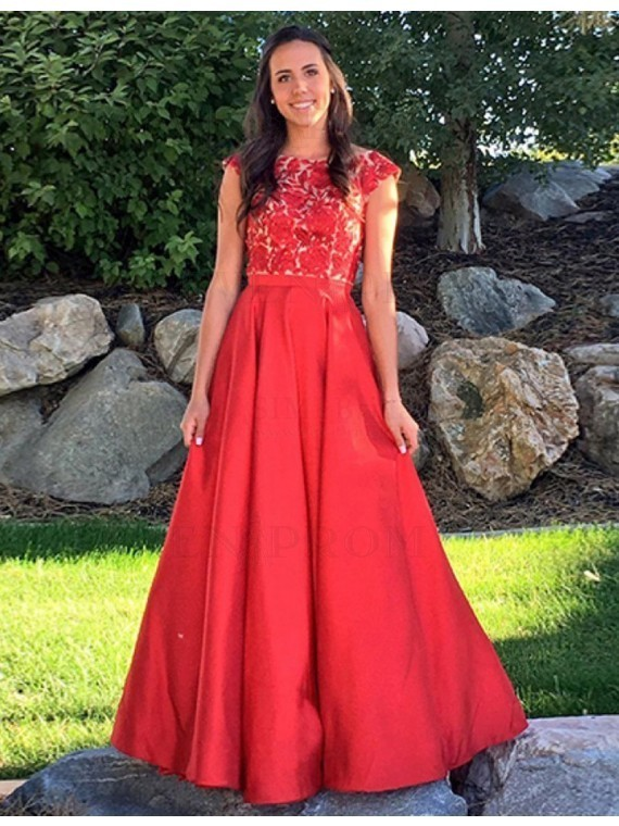Exquisite Bateau Long Red Prom Dress with Cap Sleeves Appliques, BP3726