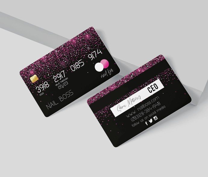 Pink Glitter Credit Card Business Cards, Credit Card Business Card, Custom