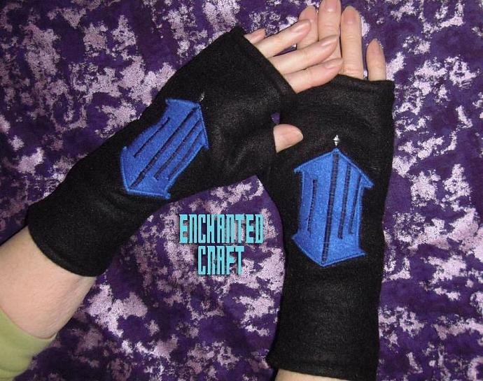 Warm black fleece Dr Who symbol fingerless gloves- tarDIS style