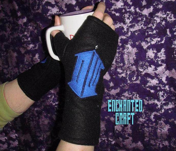 Warm black fleece Dr Who symbol fingerless gloves- tarDIS style