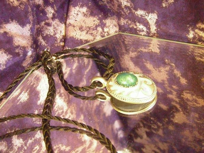 Beautiful Pewter Western necklace with polymer clay faux jade center and 'faux
