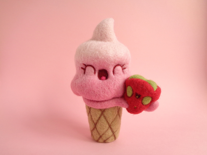 Connie and Strawberry, soft served pink ice cream with strawberry art toy,