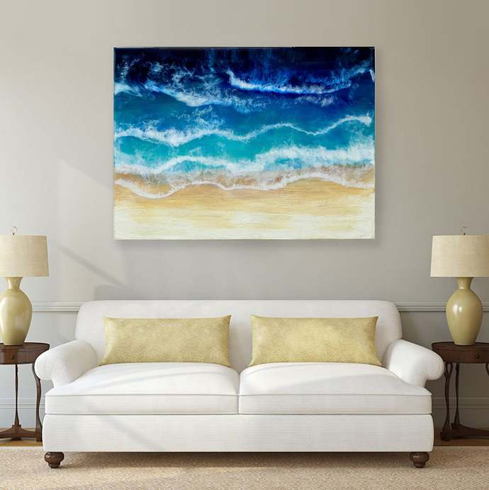 3D Ocean Resin Art  Sea and desert  Seascape Beach painting  Оcean painting