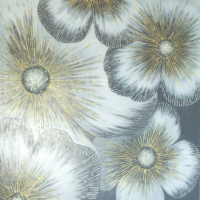 "Flowers Painting on Canvas "" Star flowers""  Abstract painting Contemporary Art"