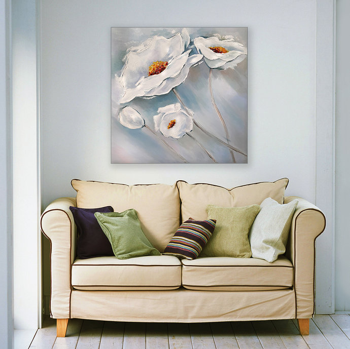 "Flowers Painting "" White poppies""  Blue and white Abstract painting"