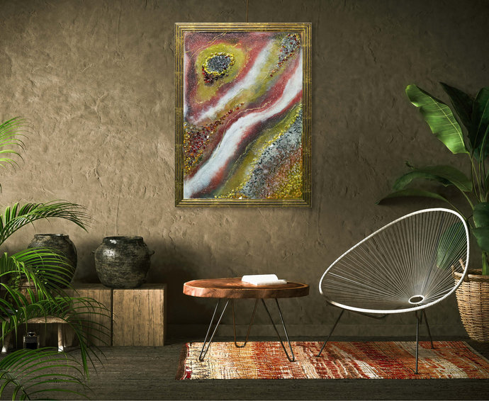 Resin wall art abstract Gold leaf resin painting Original paintings pink and