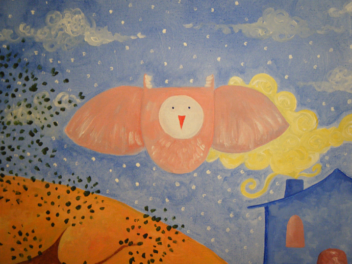 Owl In Flight - Original Painting