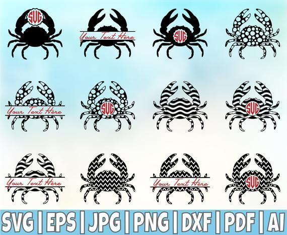 12 Crab Svg Crab Monogram Frames Svg Crabs Svg By 8hamstore On Zibbet