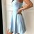WDG0163,Light Blue Satin A line Homecoming Dresses with Bowknot