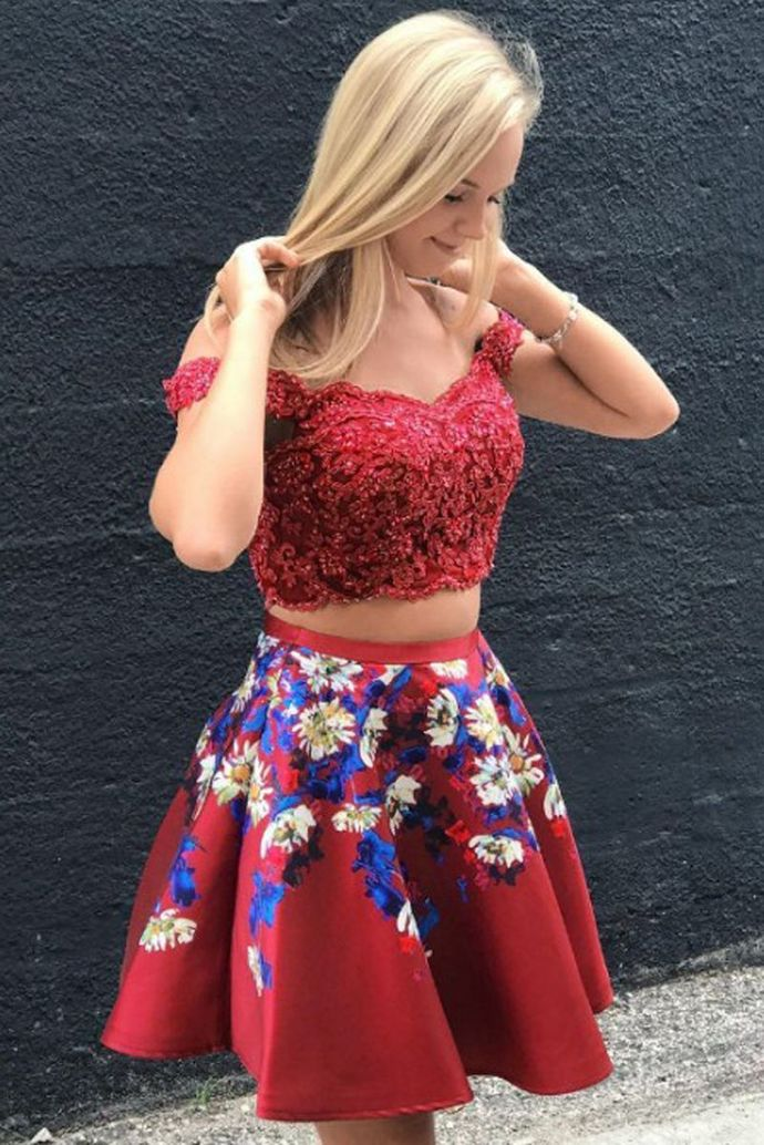 WDG0164,Two Piece Off-the-Shoulder Short Burgundy Satin Beading Homecoming Dress