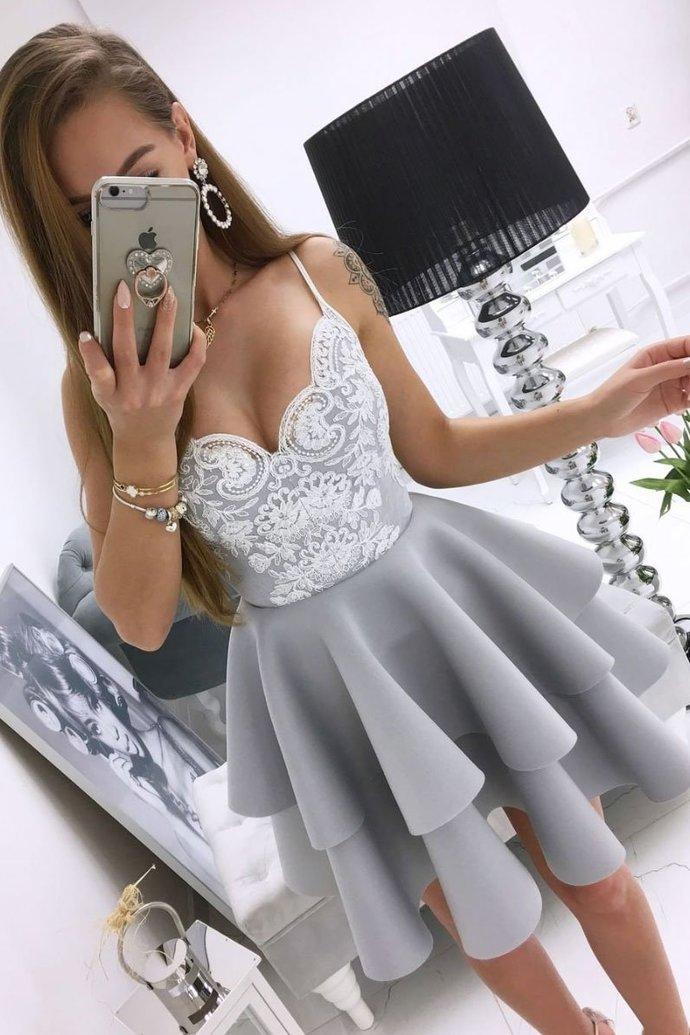 WDG0166,Gray Sweetheart Lace Ruffles Homecoming Dress,Spaghetti Straps Short