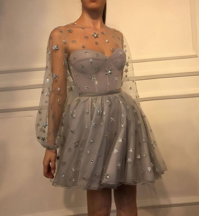 WDG0167,Gray Sweetheart Starry A line Homecoming Dresses,Long Sleeves Homecoming