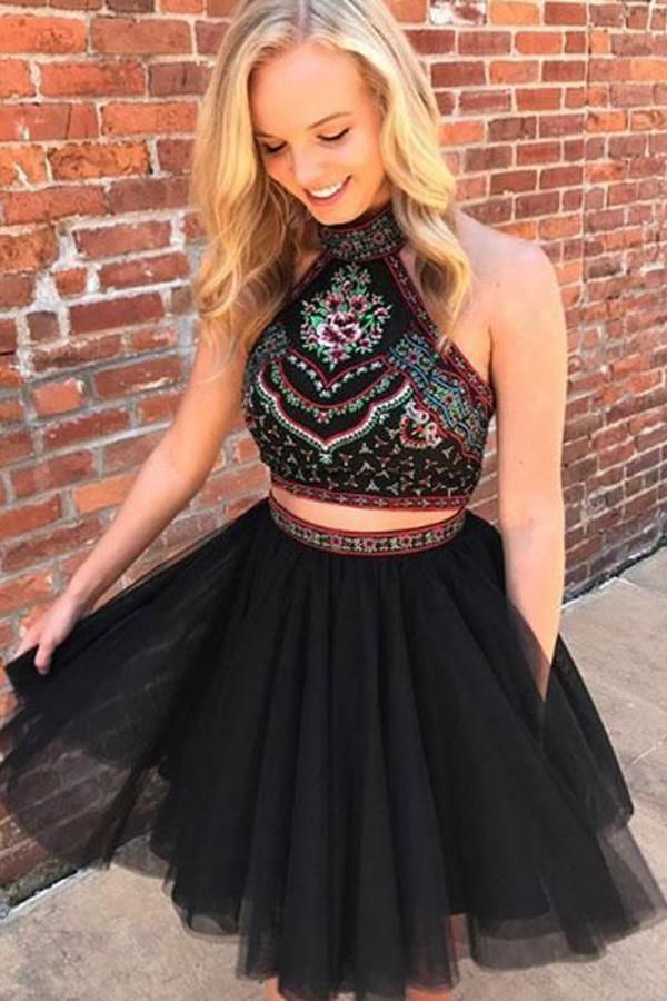 WDG0173,Two Piece Halter Backless Above-Knee Black Prom Homecoming Dress with