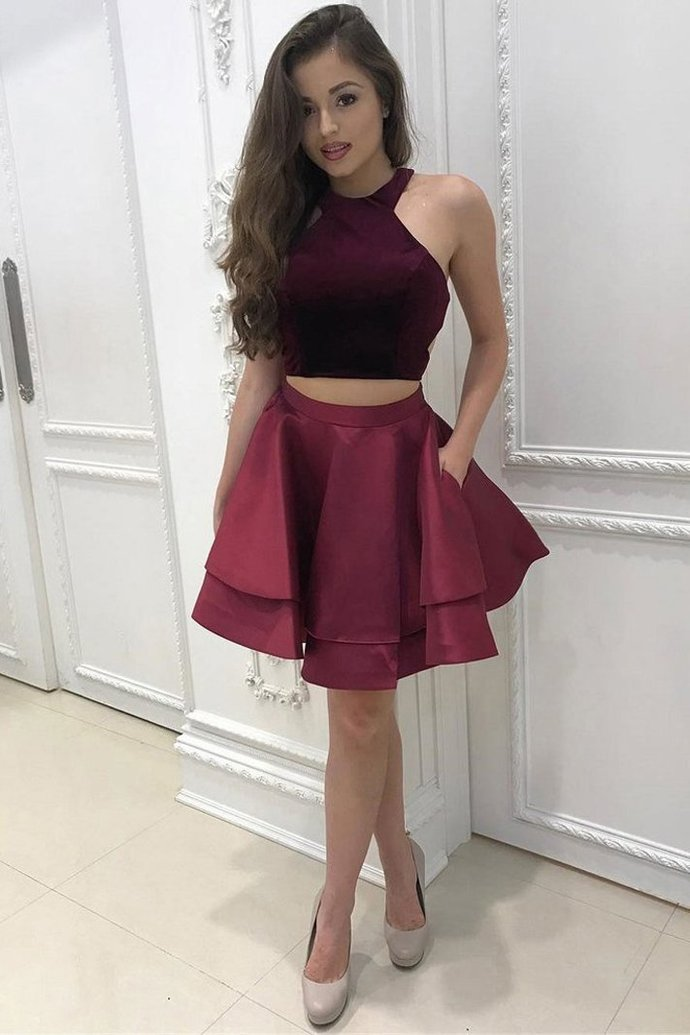 WDG0175,Two Pieces A-line Burgundy Short Prom Dress,Homecoming Dresses
