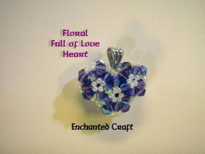Floral Full of Love beaded celestial crystal heart necklace- Lavender Love