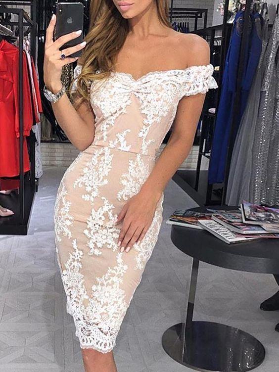 lace applique evening dresses short off the shoulder mermaid cheap sexy evening