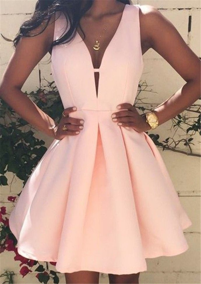 WDG0180,Pink A line Satin Sleeveless V neck Homecoming Dresses